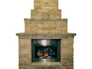 Rumbled Wall Fireplace – Cape Cod Blend